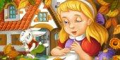 Rajzfilm jelenet a fiatal lány az erdő