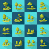 Forest Elements Flat Icons Set