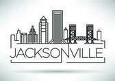 Minimal Jacksonville Linear City Skyline with Typographic Design