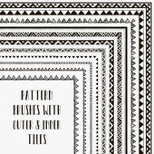 Flexible color adjustable easy to reshape and resize seamless pattern brushes collection for Adobe Illustrator With outer and inner tiles corners Vector Illustration Hand-drawn Tribal Style