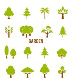 Icons trees Vector symbols isolated on white background