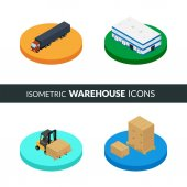 Vector illustration Set of isometric icons storage packaging and delivery Warehouse truck forklift pallets with boxes
