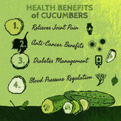 Health benefits of cucumbers Beautiful hand drawn image in bright green colors Vector illustration in unique artistic style on a textured background Natural and organic food creative concept