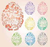 Floral easter eggs with gradient - vector decorative symbol