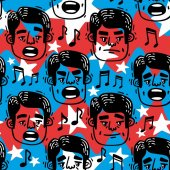 Vector image pattern funny faces singing Man blue and red