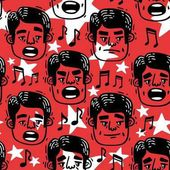 Vector image pattern funny faces singing Man