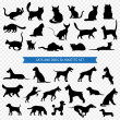 Постер, плакат: Dogs And Cats Black Silhouette Set