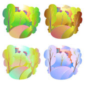 Set of bright vector natural backgrounds Four seasons in nature - summer winter fall spring City park or vacation woods at different times of the year