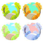 Set of bright flat vector natural backgrounds Four seasons in nature - summer winter fall spring City park or vacation woods at 4 times of the year