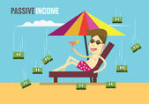 Passive income concept flat design elements vector illustration