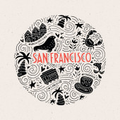 The circle with San Fransisco symbols and lettering Vector illustration USA series