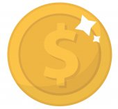 Coin icon flat design Gold coin cent isolated on white background Money for mobile applications and games Vector illustration clip art