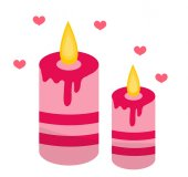 Romantic candles with hearts icon flat design Isolated on white background Vector illustration clip art