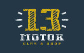 Motor club badge with shabby texture Graphic design for t-shirt Color print on black background