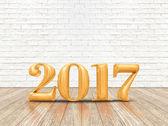 Šťastný nový rok 2017 (3d vykreslování) zlaté barvy číslo na dřevo pla
