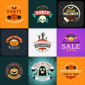 Set of Retro Happy Halloween Badges Design Element for Greetings Card or Party Flyer Vector Illustration Halloween Posters Set
