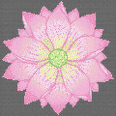 Cross stitch lotus on black background Vector picture of embroidery or needlework Pattern for scheme 120x120 sells and 10 colors