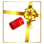 Gold ribbon bow gift design with tag vector illustration