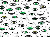 Seamless pattern with eyes Retro texture in 80s - 90s style Geometric eyelashes background Hipster Memphis style for fashion Perfect for wallpaper pattern fill web page surface texture textile