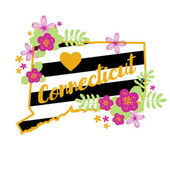 Connecticut State Map Creative Vector Typography Lettering Composition with flowers Design Concept
