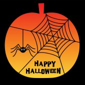 Halloween spider web pumpkin vector illustration