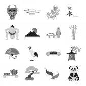 Japonsko sada ikon v monochromatickém stylu. Velká sbírka Japonsko vektor symbol skladem ilustrace