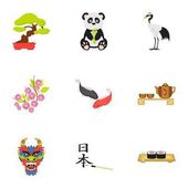 Japonsko sada ikon ve stylu kreslených. Velká sbírka Japonsko vektor symbol skladem ilustrace