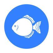 Discus fish icon black Singe aquarium fish icon from the seaocean life black