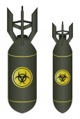 Air bomb drop with biohazard logo vector