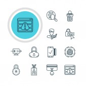 Vector Illustration Of 12 Internet Security Icons Editable Pack Of Key Collection Easy Payment Safe Storage And Other Elements