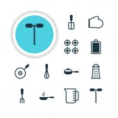Vector Illustration Of 12 Kitchenware Icons Editable Pack Of Oven Mitts Frying Pan Wine Opener And Other Elements
