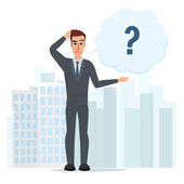 Vector illustration of cartoon with bar question mark Business cartoon concept Vector illustration isolated on white background in flat style