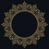 Golden outline doodle floral frame template Vector decorative line art border Elegant lace isolated design element for invitation greeting card in Eastern style place for the text Gold and black