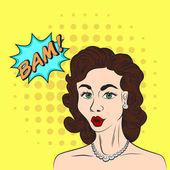 Pop-art stílusban vázlat gyönyörű barna nő, mondván, Bam