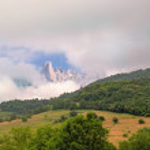 Постер, плакат: View from far away of rocks of the Picos de Europa National Park
