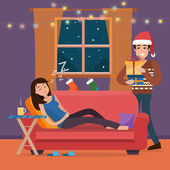 Christmas home Man in Santa hats gives gifts dreaming woman on sofa Family celebration Flat style vector illustration