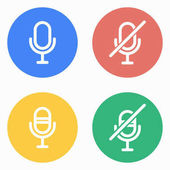 Microphone vector icons set White illustration isolated for graphic and web design