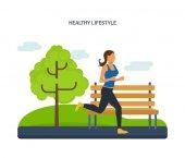 Koncepció - egészséges életmód, atlétika, jogging, az utcán