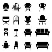 Chair icon set in front view