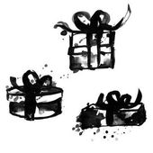 Vector hand drawn style illustration Roughed black gift boxes with bows Empty background for your design