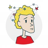 Dizzy as many asterisks around Icon on medical subjects Illustration of a funny cartoon style