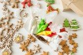 Karácsonyi süt és cukrászati zacskók felülnézet