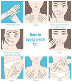 How to apply cream to the face neck hands belly legs Design packaging Instructions