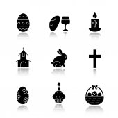 Easter drop shadow black icons set Wine and bread cross church Easter bunny eggs in basket cake with candle Isolated vector illustrations
