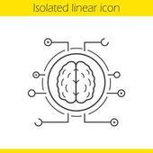 Neural networks linear icon Thin line illustration Human brain contour symbol Artificial intelligence Vector isolated outline drawing