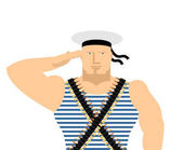 Sailor in striped vest and peakless cap February 23 Day of Fatherland Defenders in Russia Russian naval soldier
