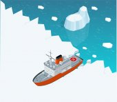 Isometric nuclear-powered icebreaker sailing in ice Ship on the ice in the sea Vector illustration