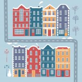 Set of European style colorful cartoon buildings in winter Including trees lamppost road snowman Isolated objects for your design