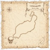 Lanzarote old pirate map Sepia engraved parchment template of treasure island Stylized manuscript on vintage paper