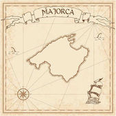 Majorca old treasure map Sepia engraved template of pirate island parchment Stylized manuscript on vintage paper